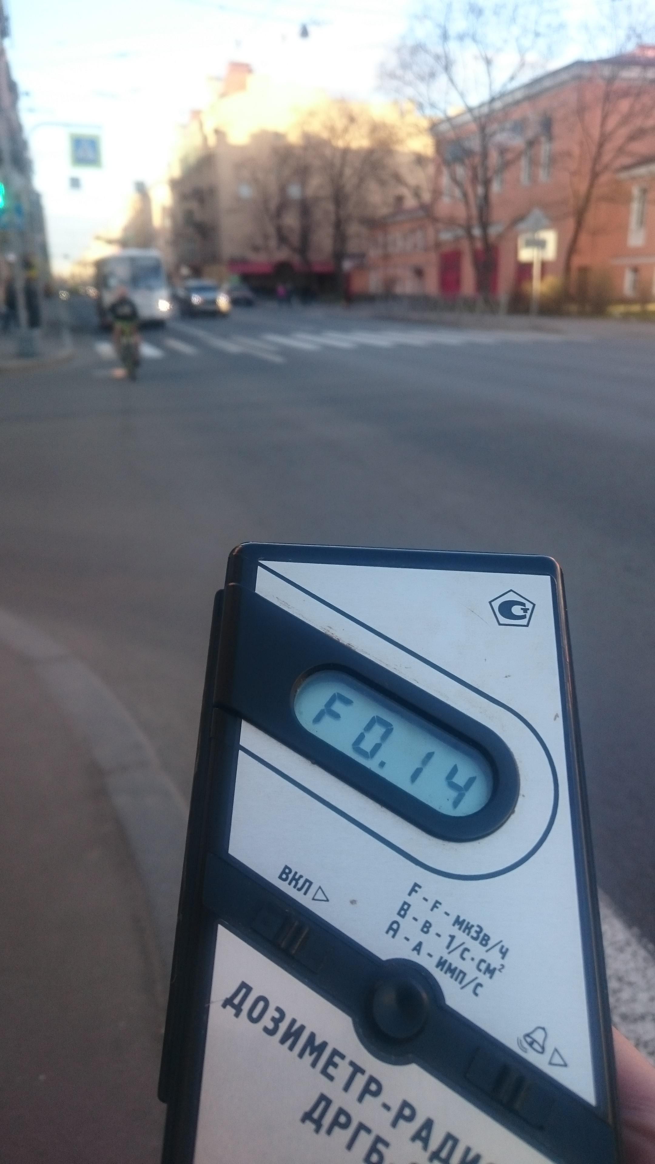 Точка измерения МЭД гамма-излучени на Съезжинской улице в Санкт-Петербурге