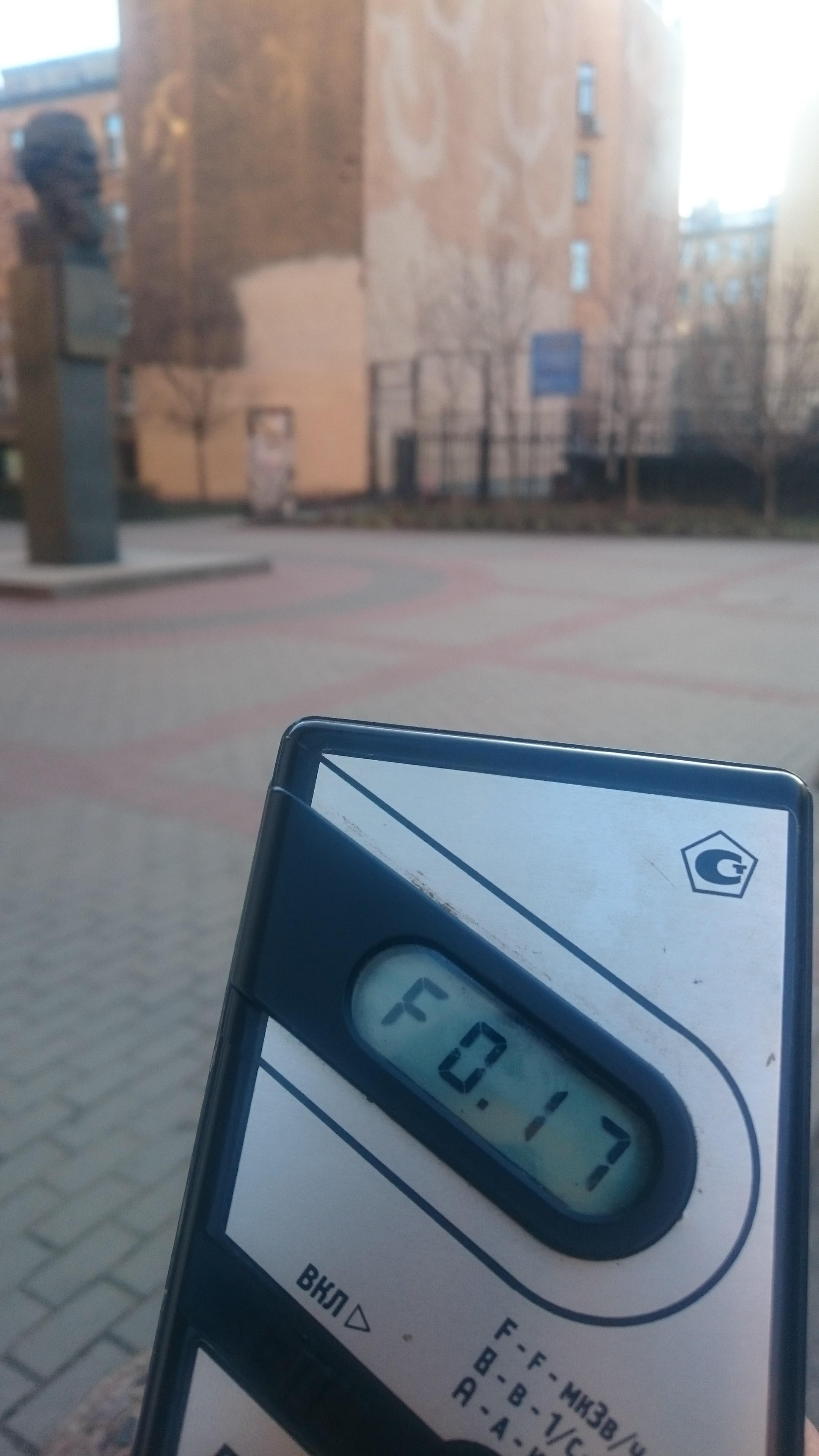 Точка измерения МЭД гамма-излучени на улице Благоева в Санкт-Петербурге
