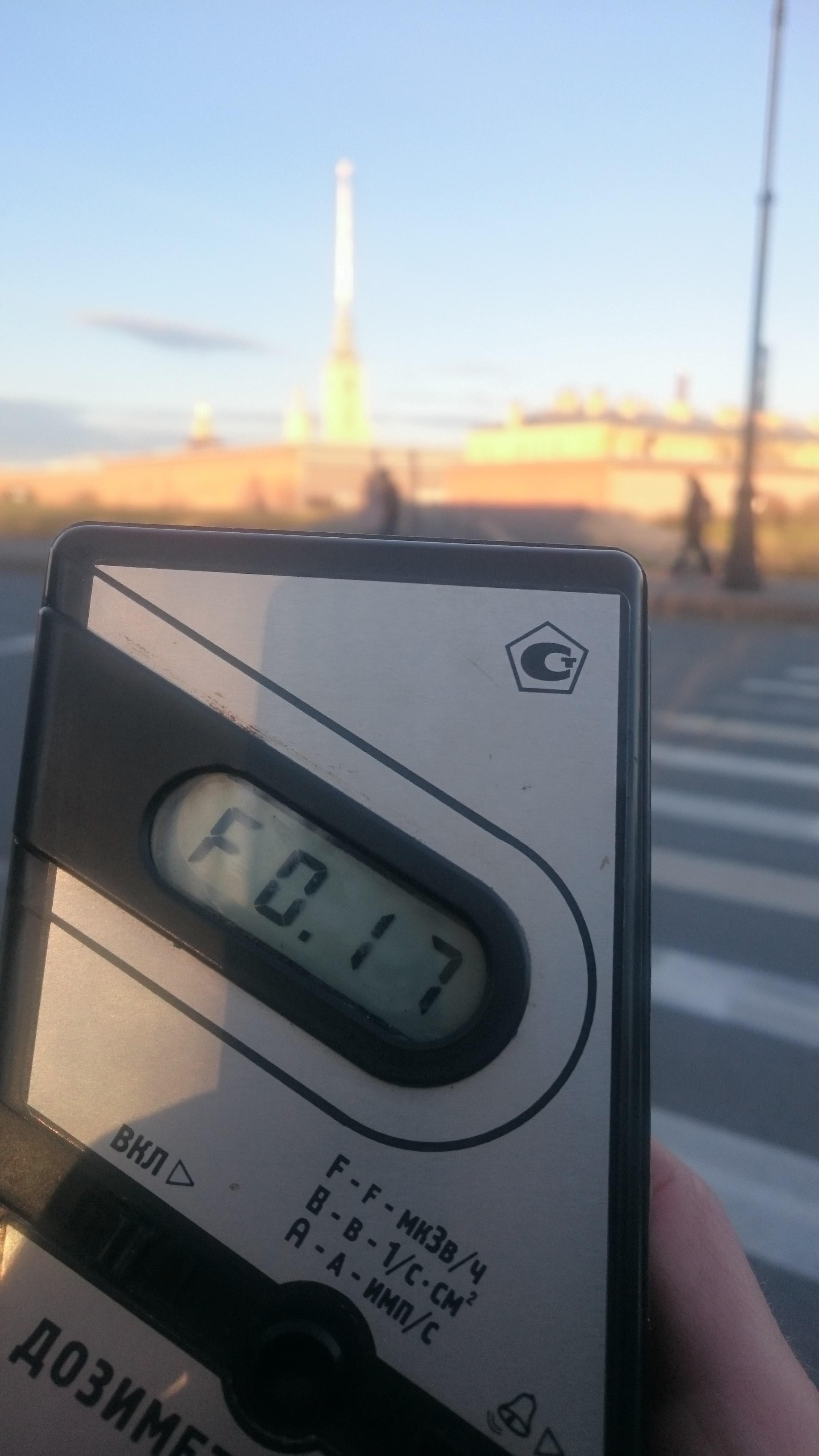 Точка измерения МЭД гамма-излучени на Кронверкской набережной  в Санкт-Петербурге